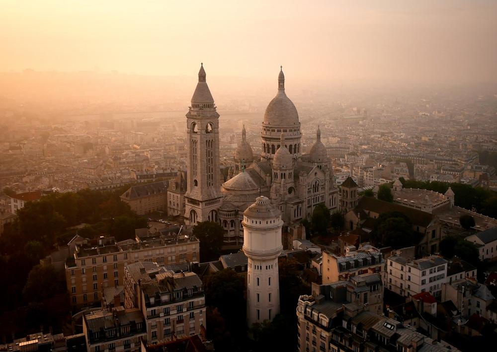Drone Image of Sacré-Cœur, Paris, France